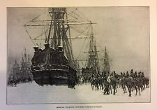 RARE 1882 Steel Engraving General Pichegru Capturing The Dutch Fleet ~ Naval
