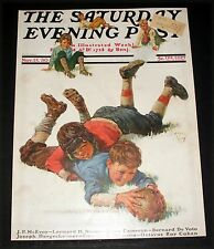 1930 OLD SATURDAY EVENING POST MAGAZINE (COVER ONLY) BOY PLAYING FOOTBALL ART!