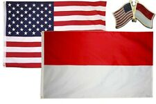 Wholesale Combo Usa & Indonesia Country 3x5 3'x5' Flag & Friendship Lapel Pin