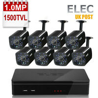 ELEC 8CH 720P CCTV DVR HDMI Outdoor 1500TVL HD Video Security Camera System 1MP