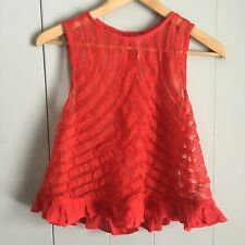 Free People She's a Doll Sheer Lace Crop Top XSmall Red Ruffled
