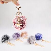 PW_ CO_ Dancing Angel Keychain Pendant Women Cute Key Ring Holder Pompom Bag O