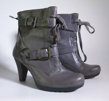 CLARKS LADIES GREY LEATHER ANKLE BOOTS UK 6