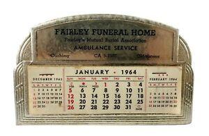 Vintage 1964 Promo Tombstone Shape Calendar Fairley Funeral Home Cushing OK