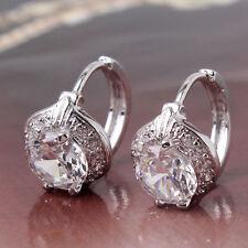 18ct White Gold Platinum filled Topaz earrings hoop White Sapphire Leverback