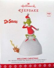 * 2017 *  GRINCH WELCOME CHRISTMAS  Hallmark Ornament DR SEUSS Magic Light Sound