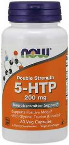 NOW Foods 5-HTP Double Strength 200 mg 60 Veg Capsules 05/2024EXP