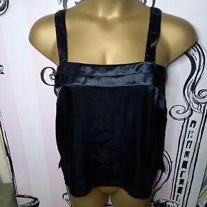 Size 12 Vintage Shiny Black Crinkle Satin Pleated Sleeveless Vest Top Pleat