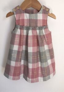 Tu Pink Grey Gold Check Baby Dress Size 3-6 Months Worn Once Excellent Condition