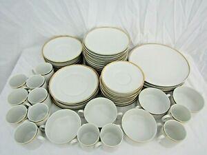 Huge lot of white porcelain dinner set with thin gold line Thomas Germany