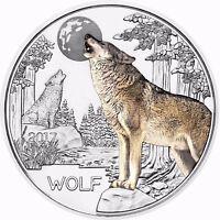 Österreich 3 Euro 2017 Der Wolf Tier Taler Münze Glow in the Dark in Münzkapsel