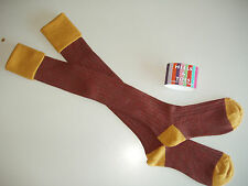 LAST PAIR Merino Wool Stripe Long Country/Shooting Breek Socks Mustard/Red/Green