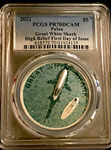 2021 $5 Palau Great White Shark Ultra High Relief 1oz .999 Silver PCGS PR70 DCAM