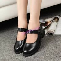 Womens Cute Strappy Buckle Round Toe Lolita Shoes Block Low Heels Mary Jane New
