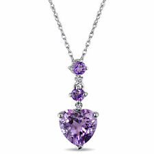 Amour 10k White Gold Diamond Amethyst Heart Necklace
