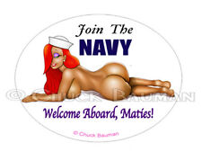 Jessica Rabbit JOIN THE NAVY AND RIDE THE WAVES! sexy pin-up babe sticker decal