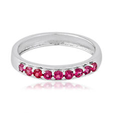 Band Ring Sterling Silver Fine Jewelry 1.45 Ct. Pink Tourmaline Half Eternity