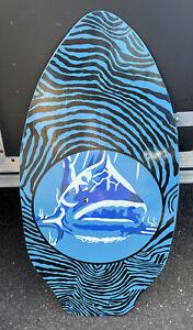 Vintage WOODEN SKIMBOARD Wood Surf Boogie Skim Board Shark Blue Zebra Stripe