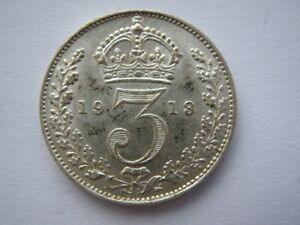 1913 silver Threepence GEF #1