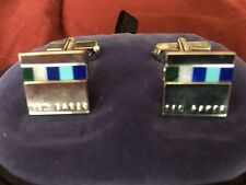 TED BAKER LONDON Shell Insert Engraved Metal Square CUFFLINKS NEW IN BOX