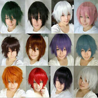 Men Anime Blonde Wig Short Wig Straight Hair Cosplay Wigs+Cap Cosplay Party Prop
