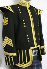 Pipe Major Doublet Black Blazer, Gold Braid & Trim. P/M badge, 4 strip chevron.