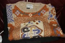 Thick Warm Cozy Sweater Multi Colors Hand knitted  100% Pure  Wool Size Large