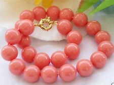 Genuine 10mm South Sea Coral Color Shell Pearl Round Beads Necklace 18''AAA+