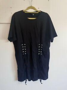 Asos Black Corset Detail T.shirt Top
