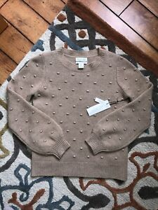 Rachel Zoe Cashmere 100% 2-ply Cashmere Beige Long Sleeve Pullover Sweater S NWT