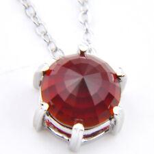 Red Garnet Gems Silver Pendants Necklaces 10Mm Unique Round Cut Natural Fire