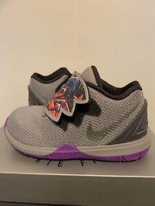 Nike Kyrie 5 (TD) Atmosphere Grey Girls Shoes AQ2459-001 Sz 8c NWB