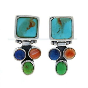 Sterling Turquoise, Lapis Lazuli, Gaspeite, & Spiny Oyster Dangle Earrings 925