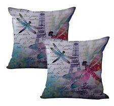 Us Seller- 2pcs decorative pillowcases Eiffel Tower dragonfly cushion cover