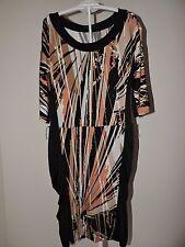 BCBG Maxazria Dress Sheath Ruffle Sides Brown Black Career Work XS Fall Fashion
