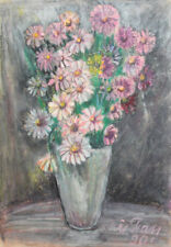 1990 Impressionist pastels painting still life signed