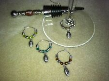 "4 football wine glass charms and wine bottle stopper free shipping ""superbowl"""