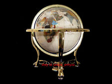"21"" Tall Pearl Ocean Tripod Leg Gold Table Top Gem GEMSTONE WORLD MAP MOP GLOBE"
