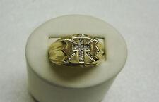 10K YELLOW GOLD 6 ROUND DIAMOND CROSS RING SIZE 9 FAITH RELIGIOUS CHURCH NG33-R