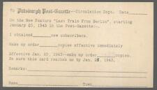 Postcard PITTSBURGH Pennsylvania/PA Post Gazette New Subscription Notice 1943