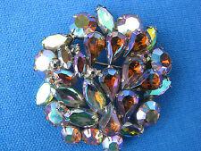 "Brooch Pin: Silvertone, 2 1/4"" Reduced! Sparkling Vintage Aurora Rhinestone"