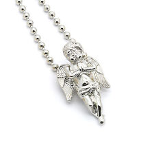 Mens HipHop G/S Angels Piece Charm Micro Pendant Ball Chain Necklace Jewelry