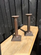 More details for vintage cast iron column candlesticks 7.5 inches tall