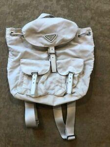 PRADA White Mini Nylon Backpack with Silver Logo Hardware