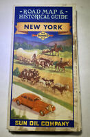 Vintage Sunoco Road Map Historical Guide 1940s Cover Stained Lightly