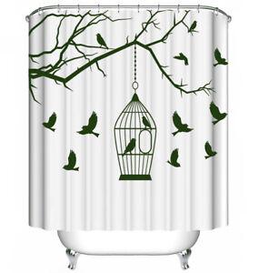 Birdcage Tree Branch Birds GREEN Fabric SHOWER CURTAIN 70x70 Hooks