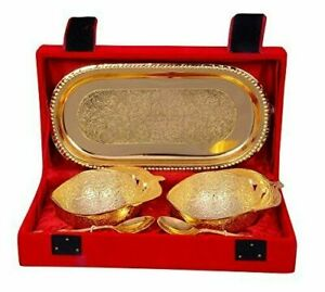 AC ANAND CRAFTS Silver Gold Plated Antique Bowl Set of 5 with Velvet