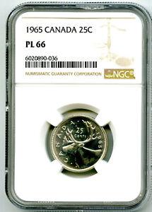 1965 CANADA 25 CENT SILVER QUARTER NGC PL66 PROOF LIKE RARE