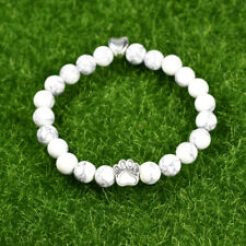 Bracelet Beads Made of Howlite White with Heart and Paw Silver Colored