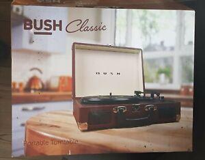 BUSH CLASSIC RETRO PORTABLE TURNTABLE RECORD PLAYER - BROWN in box